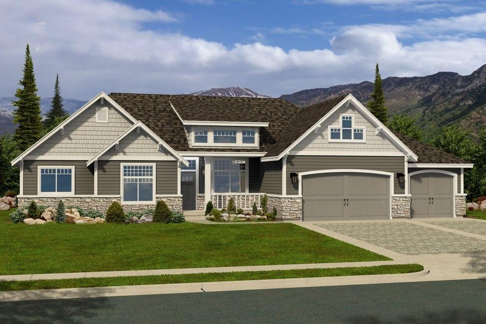 R 1754b hearthstone home design for Craftsman house plans utah